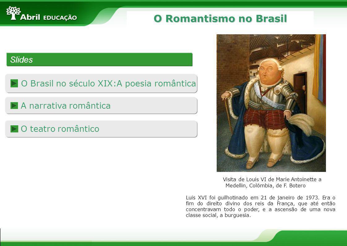 O Romantismo no Brasil Slides O Brasil no século XIX:A poesia romântica A narrativa romântica O teatro romântico Luís XVI foi guilhotinado em 21 de ja
