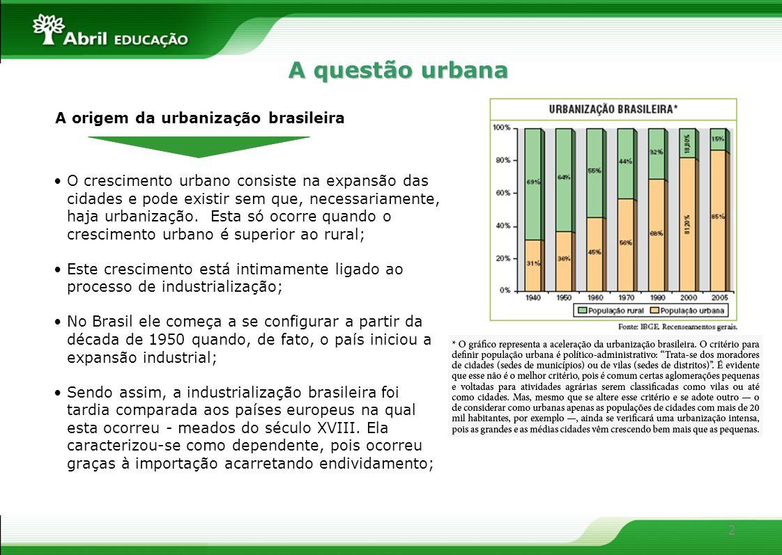 A questão urbana O crescimento urbano consiste na expansão das cidades e pode existir sem que, necessariamente, haja urbanização. Esta só ocorre quand