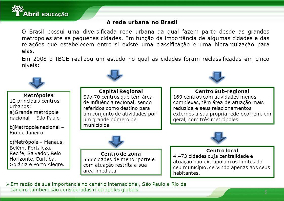 A rede urbana no Brasil O Brasil possui uma diversificada rede urbana da qual fazem parte desde as grandes metrópoles até as pequenas cidades. Em funç