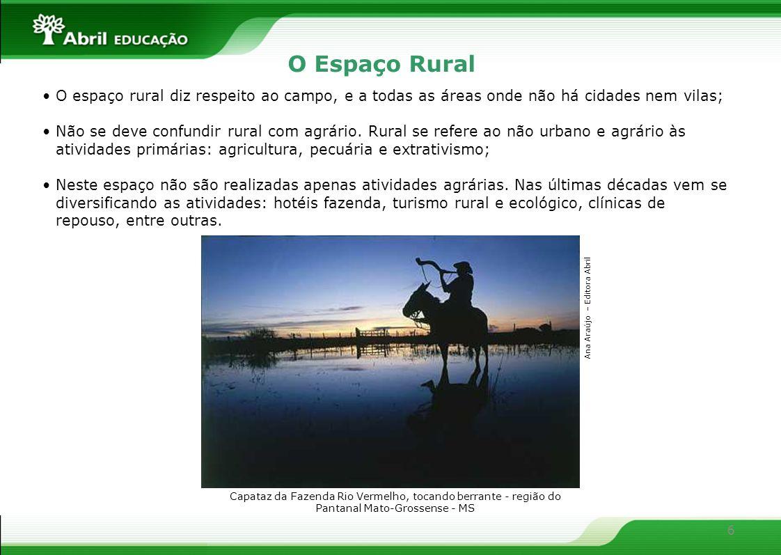 6 O Espaço Rural O espaço rural diz respeito ao campo, e a todas as áreas onde não há cidades nem vilas; Não se deve confundir rural com agrário. Rura
