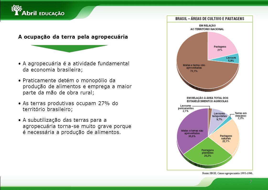 7 A ocupação da terra pela agropecuária A agropecuária é a atividade fundamental da economia brasileira; Praticamente detém o monopólio da produção de