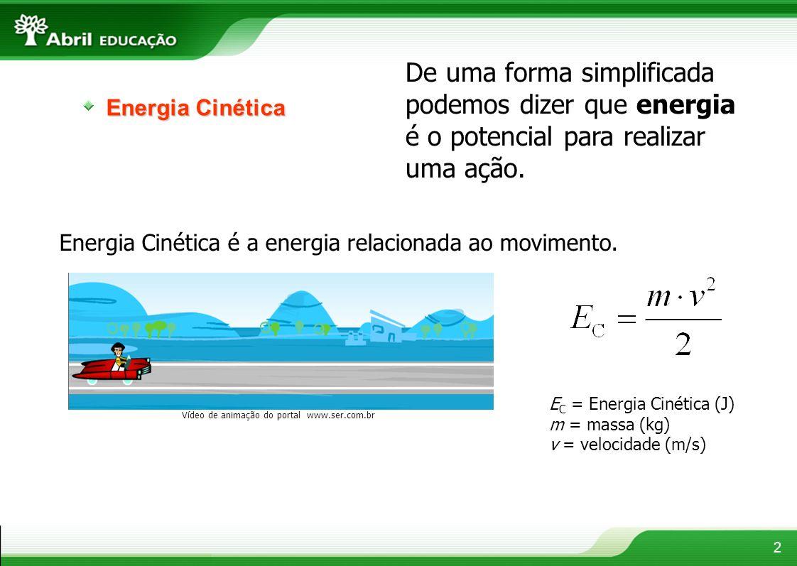Energia Cinética De uma forma simplificada podemos dizer que energia é o potencial para realizar uma ação. Energia Cinética é a energia relacionada ao