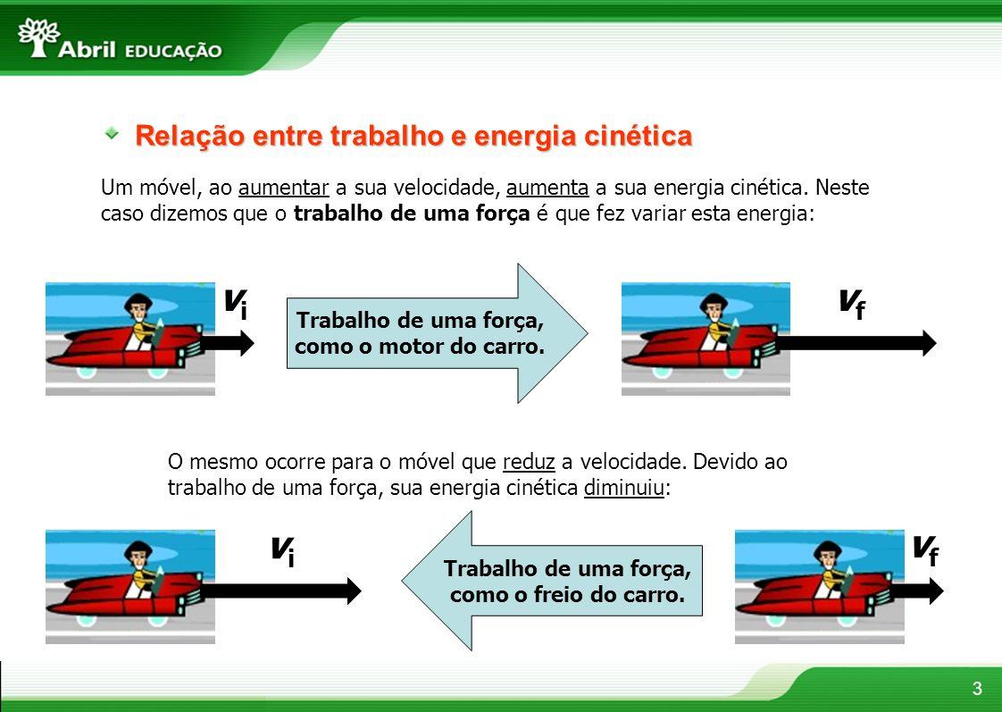 Relação entre trabalho e energia cinética Um móvel, ao aumentar a sua velocidade, aumenta a sua energia cinética. Neste caso dizemos que o trabalho de