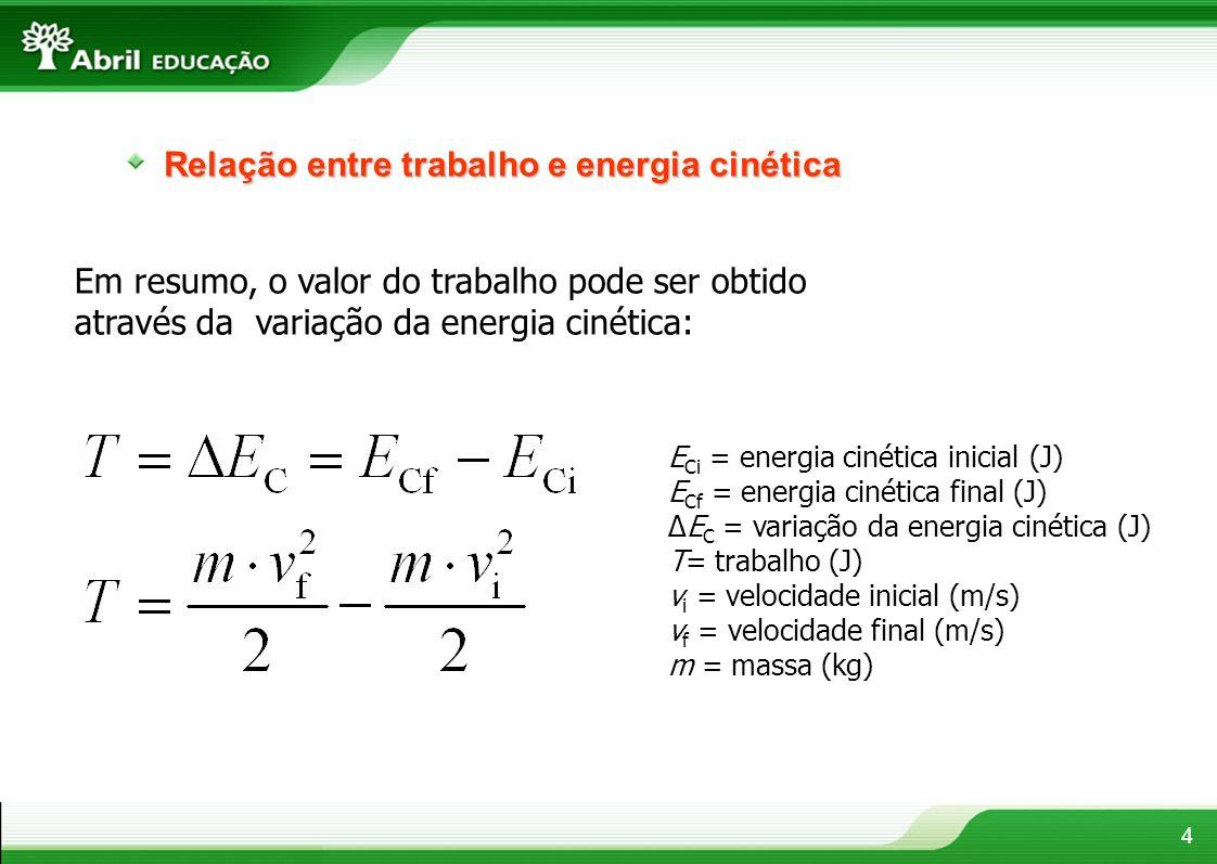 4 Relação entre trabalho e energia cinética Em resumo, o valor do trabalho pode ser obtido através da variação da energia cinética: E Ci = energia cin
