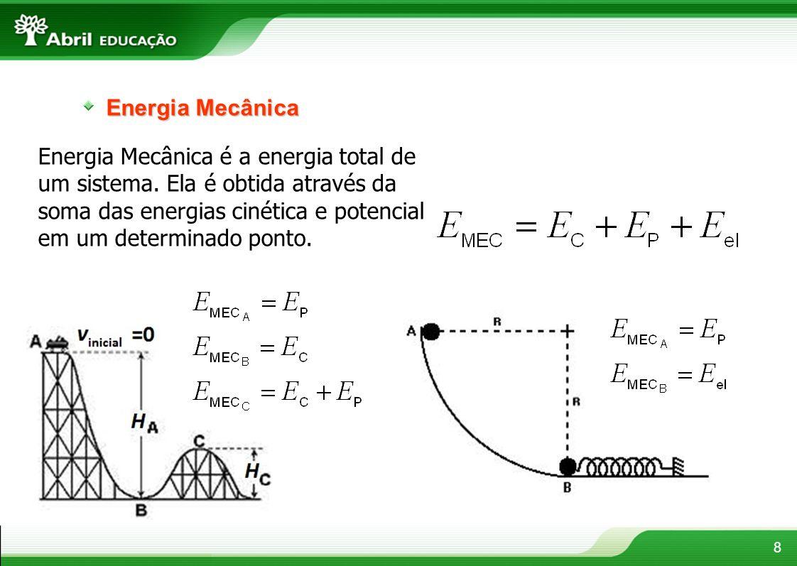Energia Mecânica Energia Mecânica é a energia total de um sistema. Ela é obtida através da soma das energias cinética e potencial em um determinado po