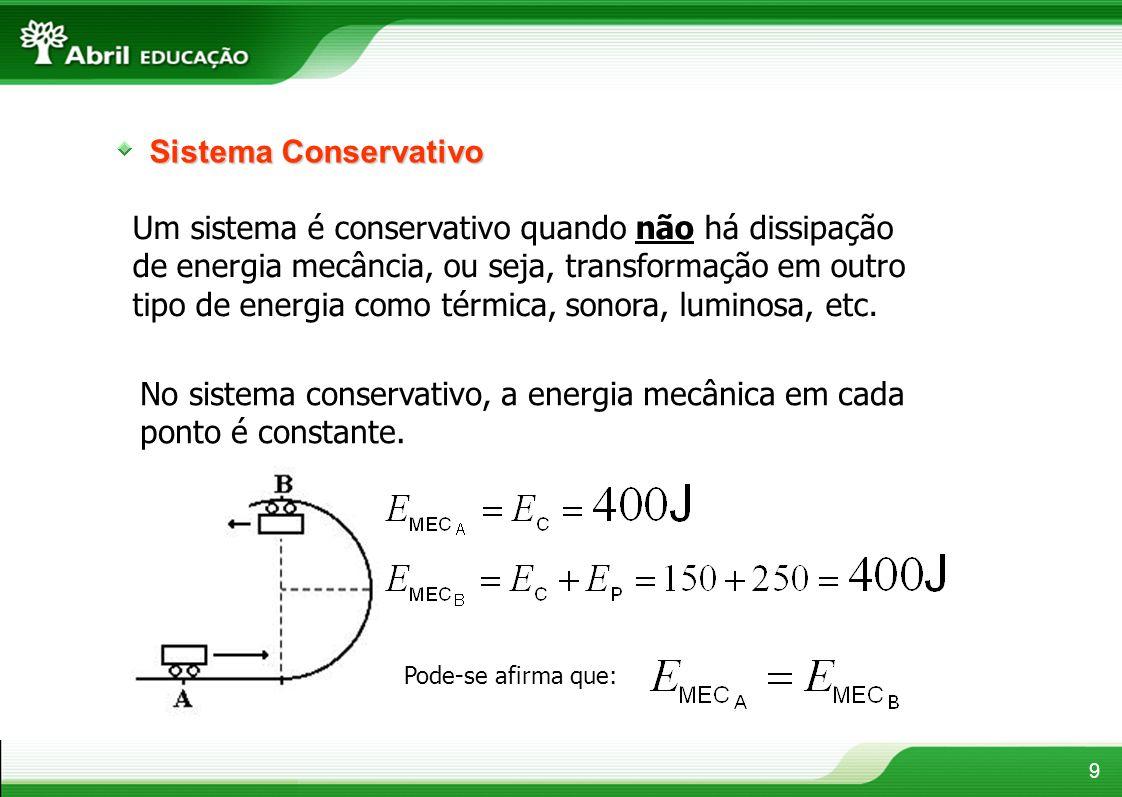 Sistema Conservativo Um sistema é conservativo quando não há dissipação de energia mecância, ou seja, transformação em outro tipo de energia como térm