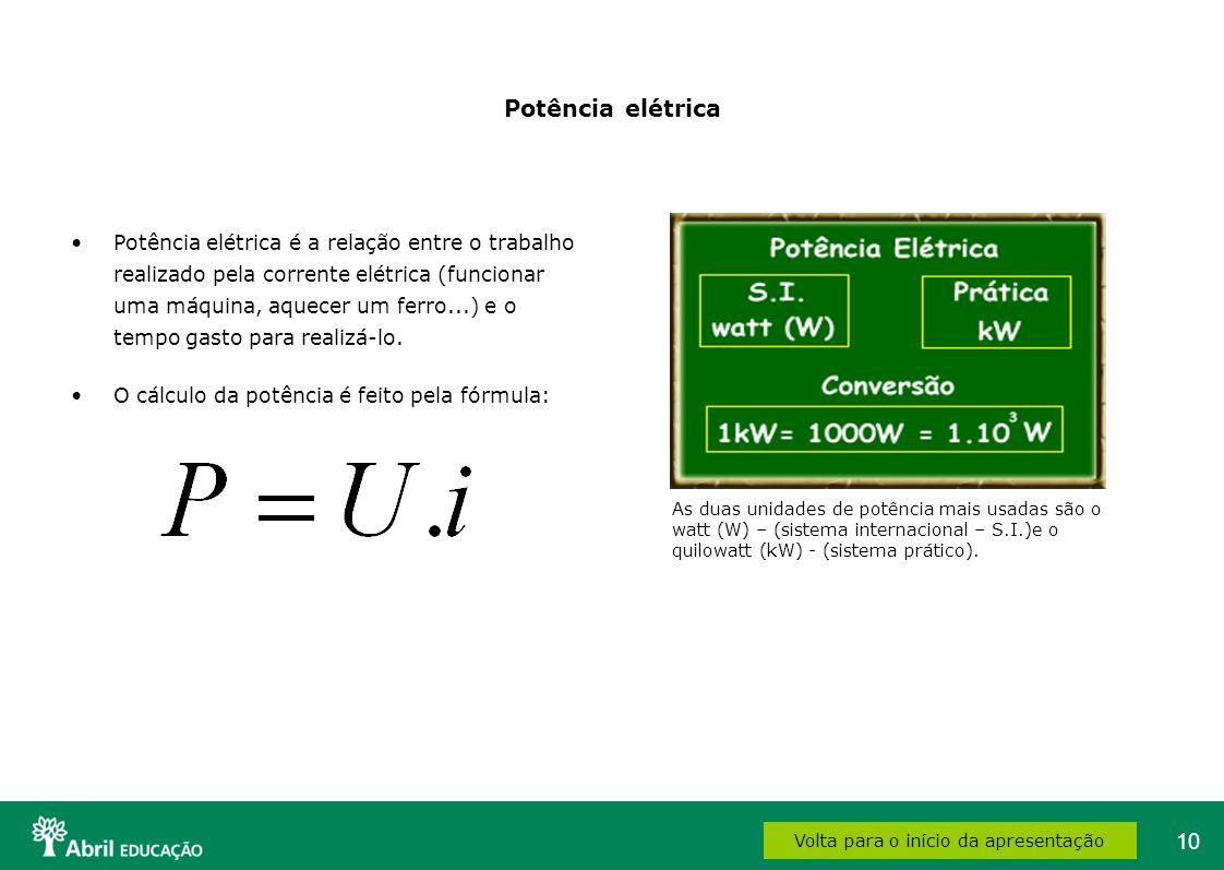 10 Potência elétrica Potência elétrica é a relação entre o trabalho realizado pela corrente elétrica (funcionar uma máquina, aquecer um ferro...) e o