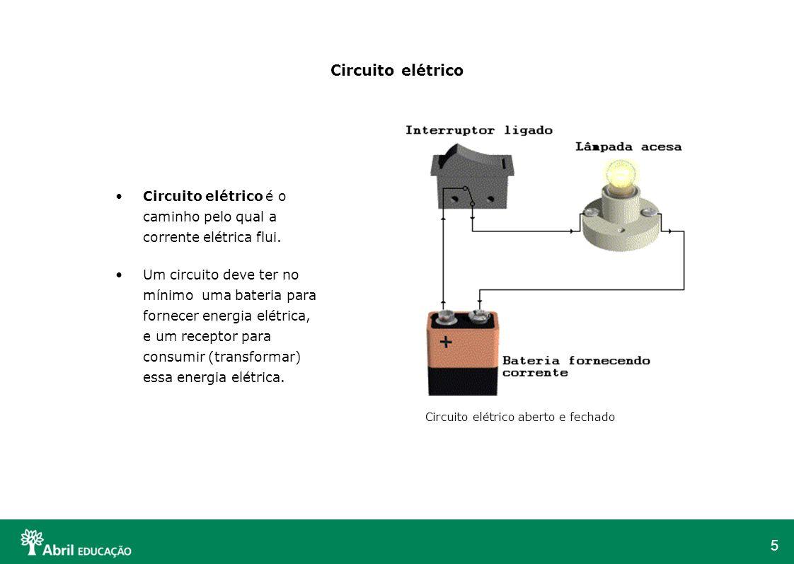 5 Circuito elétrico Circuito elétrico é o caminho pelo qual a corrente elétrica flui. Um circuito deve ter no mínimo uma bateria para fornecer energia