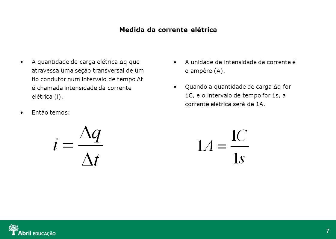 7 Medida da corrente elétrica A quantidade de carga elétrica Δq que atravessa uma seção transversal de um fio condutor num intervalo de tempo Δt é cha