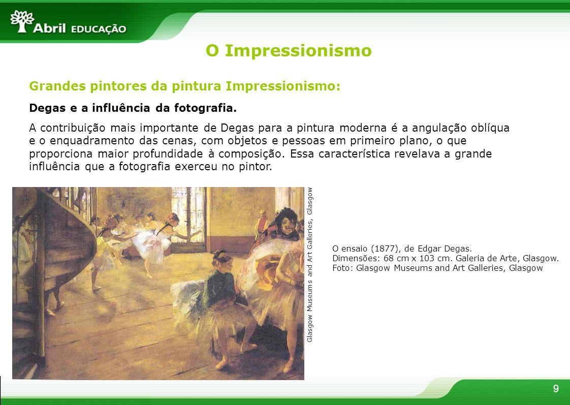 Degas e a influência da fotografia. A contribuição mais importante de Degas para a pintura moderna é a angulação oblíqua e o enquadramento das cenas,
