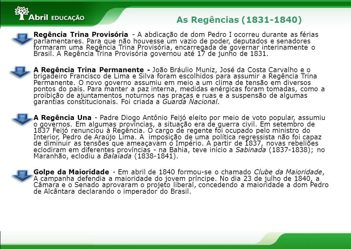 As Regências (1831-1840) Regência Trina Provisória - A abdicação de dom Pedro I ocorreu durante as férias parlamentares. Para que não houvesse um vazi