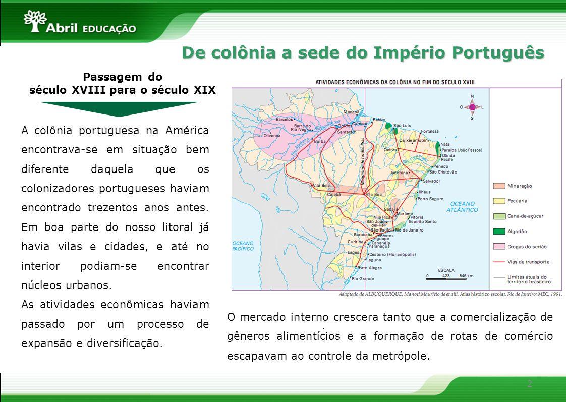 2 Passagem do século XVIII para o século XIX A colônia portuguesa na América encontrava-se em situação bem diferente daquela que os colonizadores port