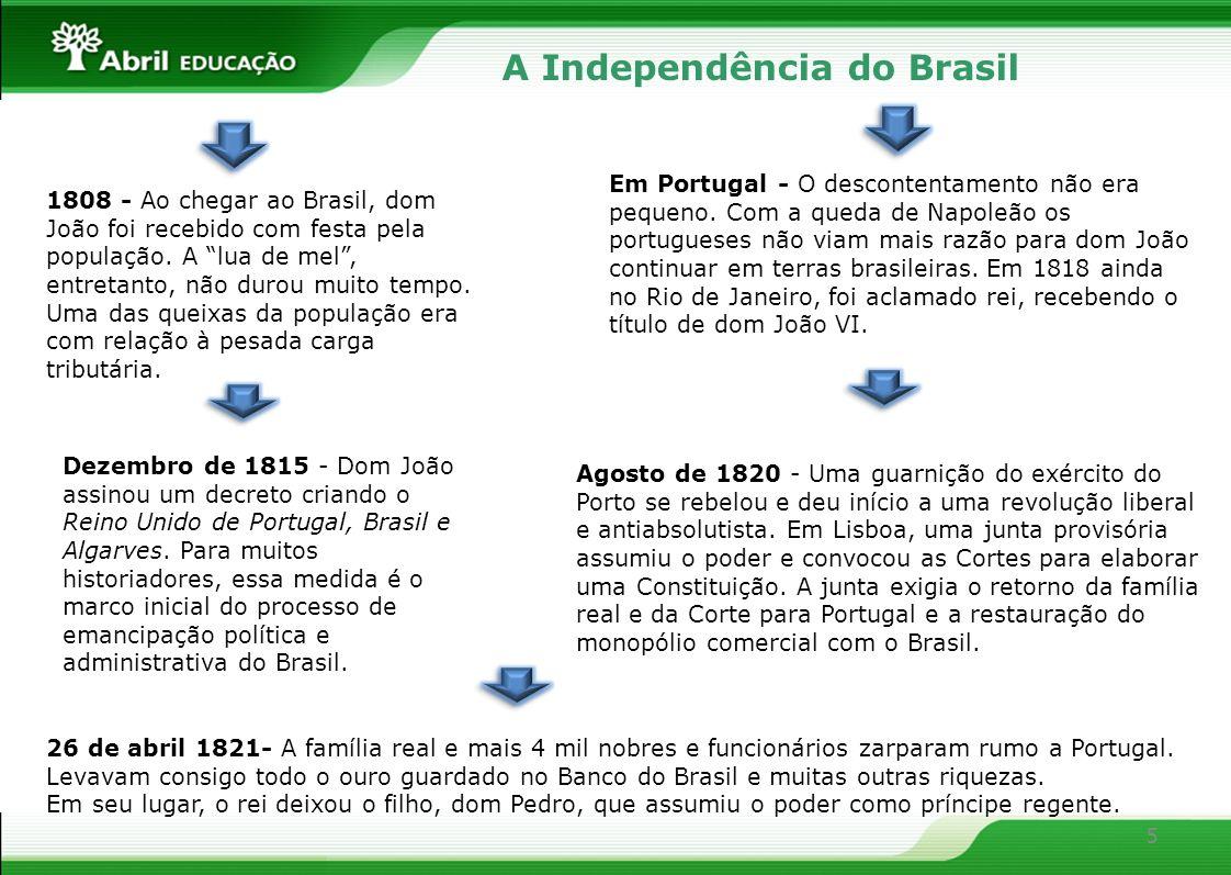 5 A Independência do Brasil 1808 - Ao chegar ao Brasil, dom João foi recebido com festa pela população. A lua de mel, entretanto, não durou muito temp