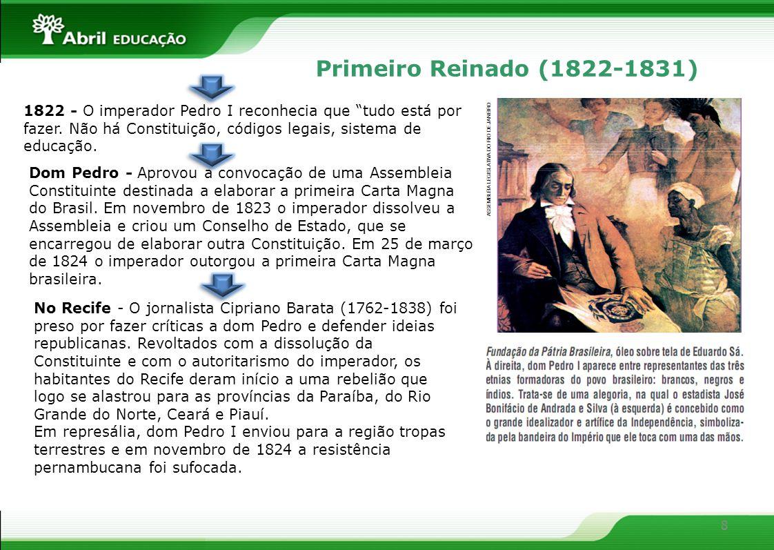 8 Primeiro Reinado (1822-1831) 1822 - O imperador Pedro I reconhecia que tudo está por fazer. Não há Constituição, códigos legais, sistema de educação