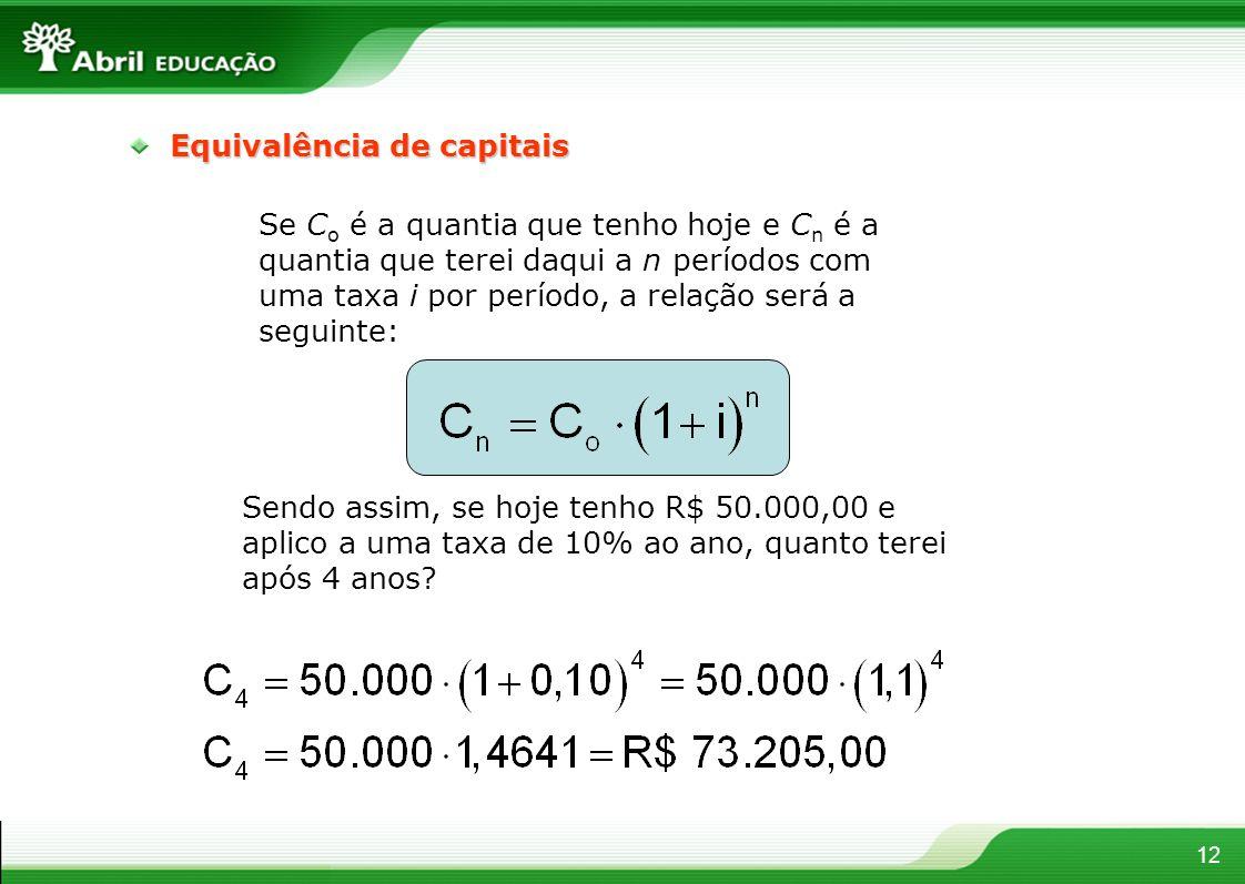 12 Equivalência de capitais Se C o é a quantia que tenho hoje e C n é a quantia que terei daqui a n períodos com uma taxa i por período, a relação ser
