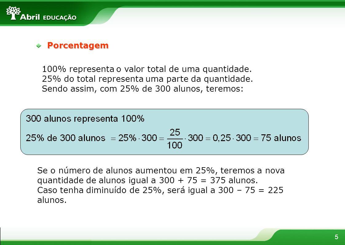 5Porcentagem 100% representa o valor total de uma quantidade. 25% do total representa uma parte da quantidade. Sendo assim, com 25% de 300 alunos, ter