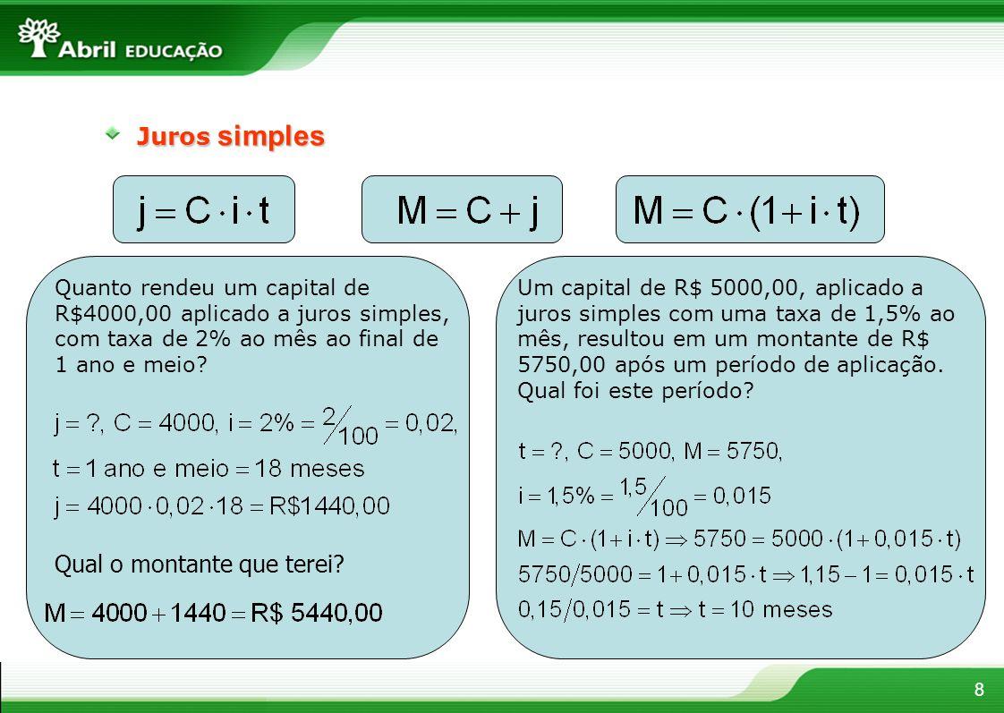 8 Juros simples Quanto rendeu um capital de R$4000,00 aplicado a juros simples, com taxa de 2% ao mês ao final de 1 ano e meio? Qual o montante que te