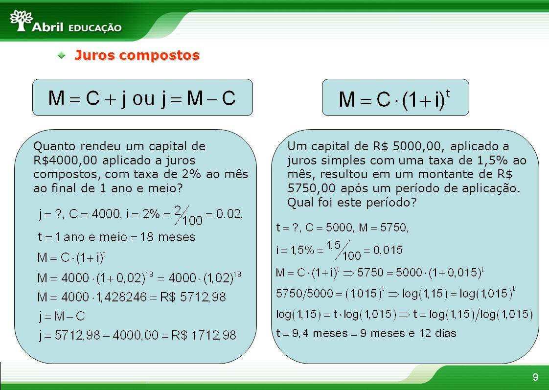 9 Juros compostos Quanto rendeu um capital de R$4000,00 aplicado a juros compostos, com taxa de 2% ao mês ao final de 1 ano e meio? Um capital de R$ 5
