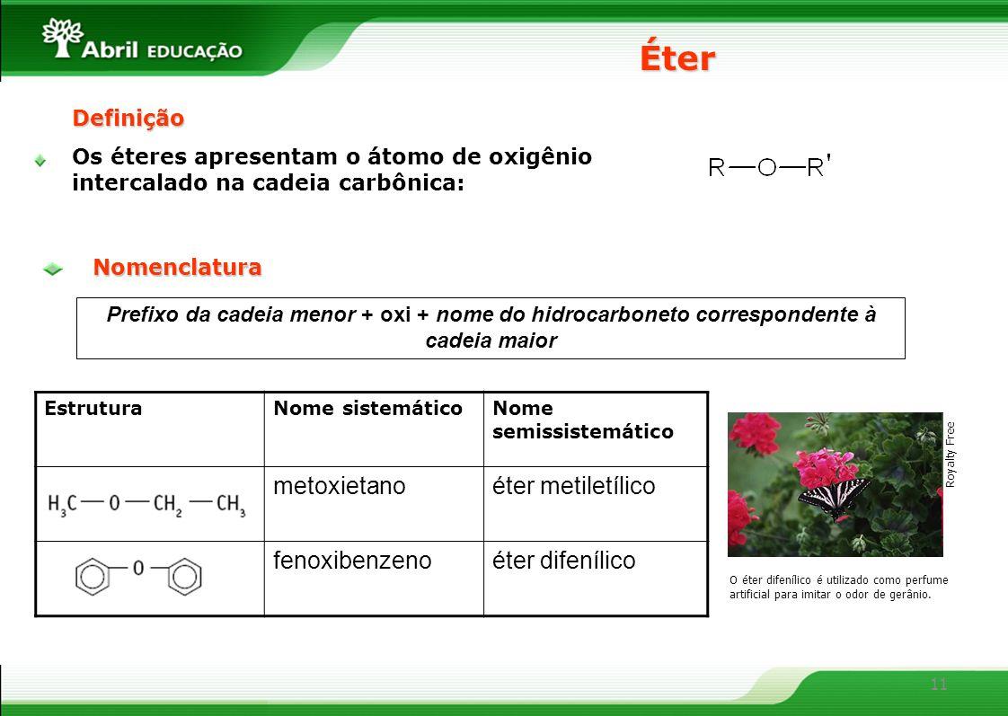 11 Éter Prefixo da cadeia menor + oxi + nome do hidrocarboneto correspondente à cadeia maior EstruturaNome sistemáticoNome semissistemático metoxietan