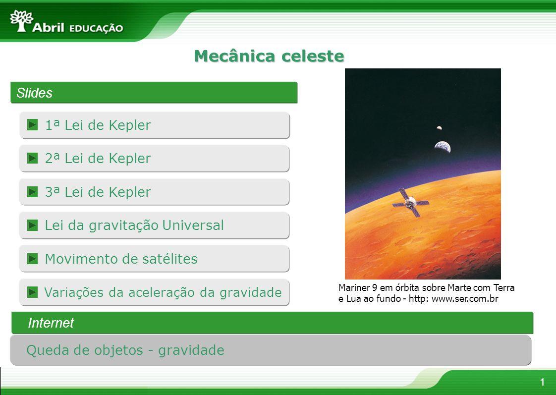 Mecânica celeste 1ª Lei de Kepler 1 Slides Mariner 9 em órbita sobre Marte com Terra e Lua ao fundo - http: www.ser.com.br Lei da gravitação Universal 2ª Lei de Kepler 3ª Lei de Kepler Movimento de satélites Variações da aceleração da gravidade Internet Queda de objetos - gravidade
