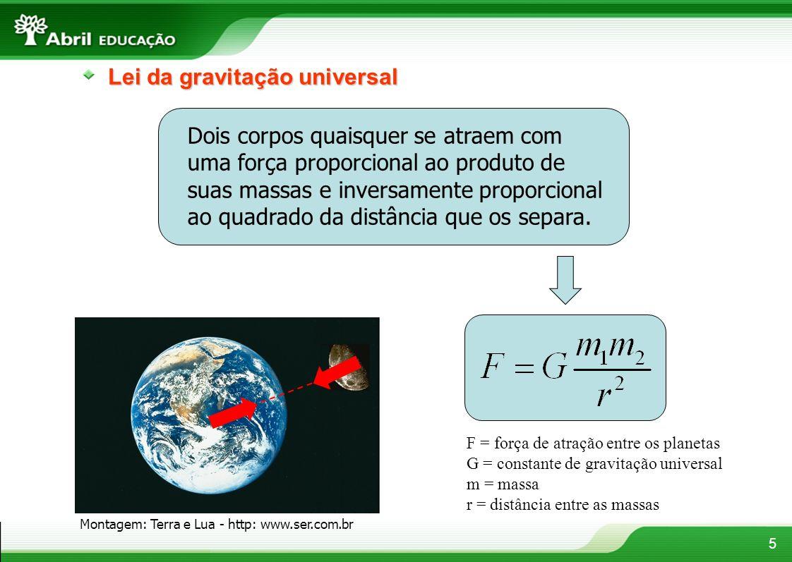 5 Lei da gravitação universal Dois corpos quaisquer se atraem com uma força proporcional ao produto de suas massas e inversamente proporcional ao quadrado da distância que os separa.