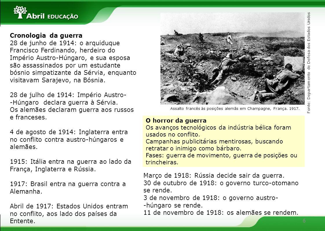 Segundo estimativas, a Primeira Guerra Mundial provocou a morte de 8 milhões de pessoas, deixou 20 milhões de inválidos e milhões de órfãos, desempregados e desabrigados.