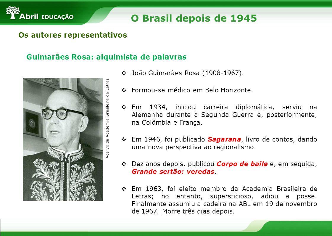 O Brasil depois de 1945 Os autores representativos Guimarães Rosa: alquimista de palavras João Guimarães Rosa (1908-1967). Formou-se médico em Belo Ho