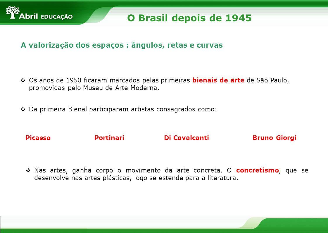 O Brasil depois de 1945 A valorização dos espaços : ângulos, retas e curvas Os anos de 1950 ficaram marcados pelas primeiras bienais de arte de São Pa