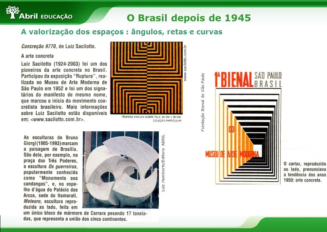 A valorização dos espaços : ângulos, retas e curvas Fundação Bienal de São Paulo Luiz Humberto/Editora ABRIL O Brasil depois de 1945 www.sacilotto.com