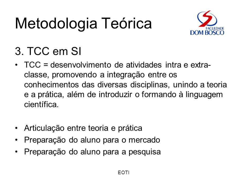 EOTI Metodologia Teórica 3. TCC em SI TCC = desenvolvimento de atividades intra e extra- classe, promovendo a integração entre os conhecimentos das di