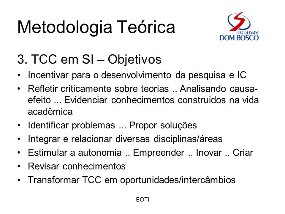 EOTI Metodologia Teórica 3. TCC em SI – Objetivos Incentivar para o desenvolvimento da pesquisa e IC Refletir criticamente sobre teorias.. Analisando
