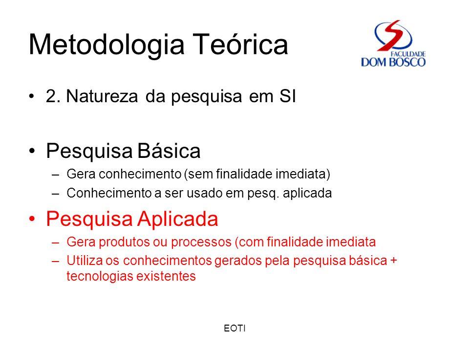 EOTI Metodologia Teórica 2. Natureza da pesquisa em SI Pesquisa Básica –Gera conhecimento (sem finalidade imediata) –Conhecimento a ser usado em pesq.