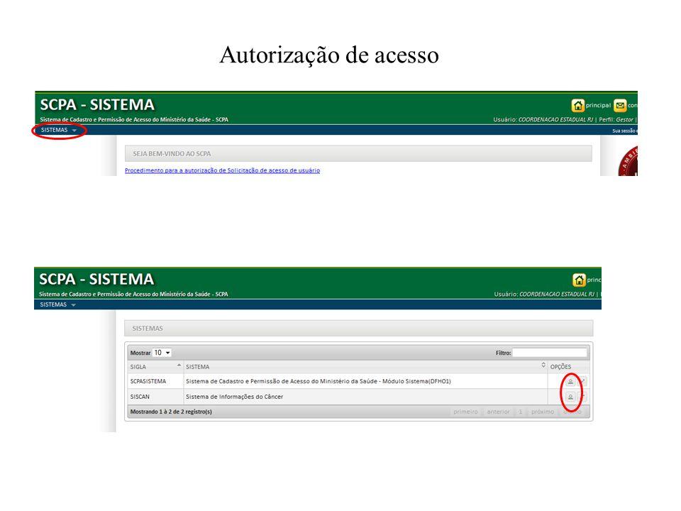 Autorização de acesso