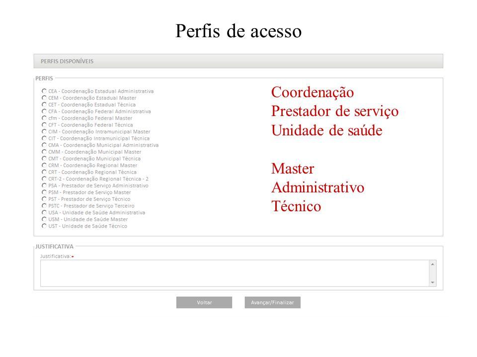 Perfis de acesso Coordenação Prestador de serviço Unidade de saúde Master Administrativo Técnico