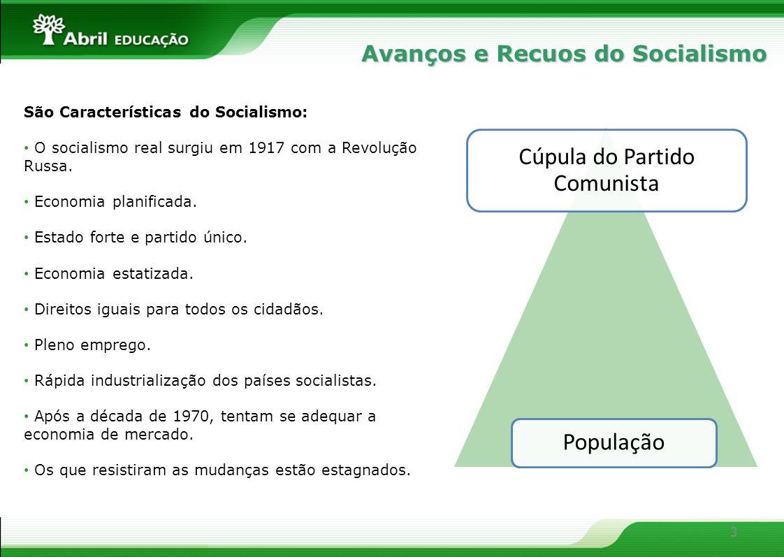 3 São Características do Socialismo: O socialismo real surgiu em 1917 com a Revolução Russa. Economia planificada. Estado forte e partido único. Econo