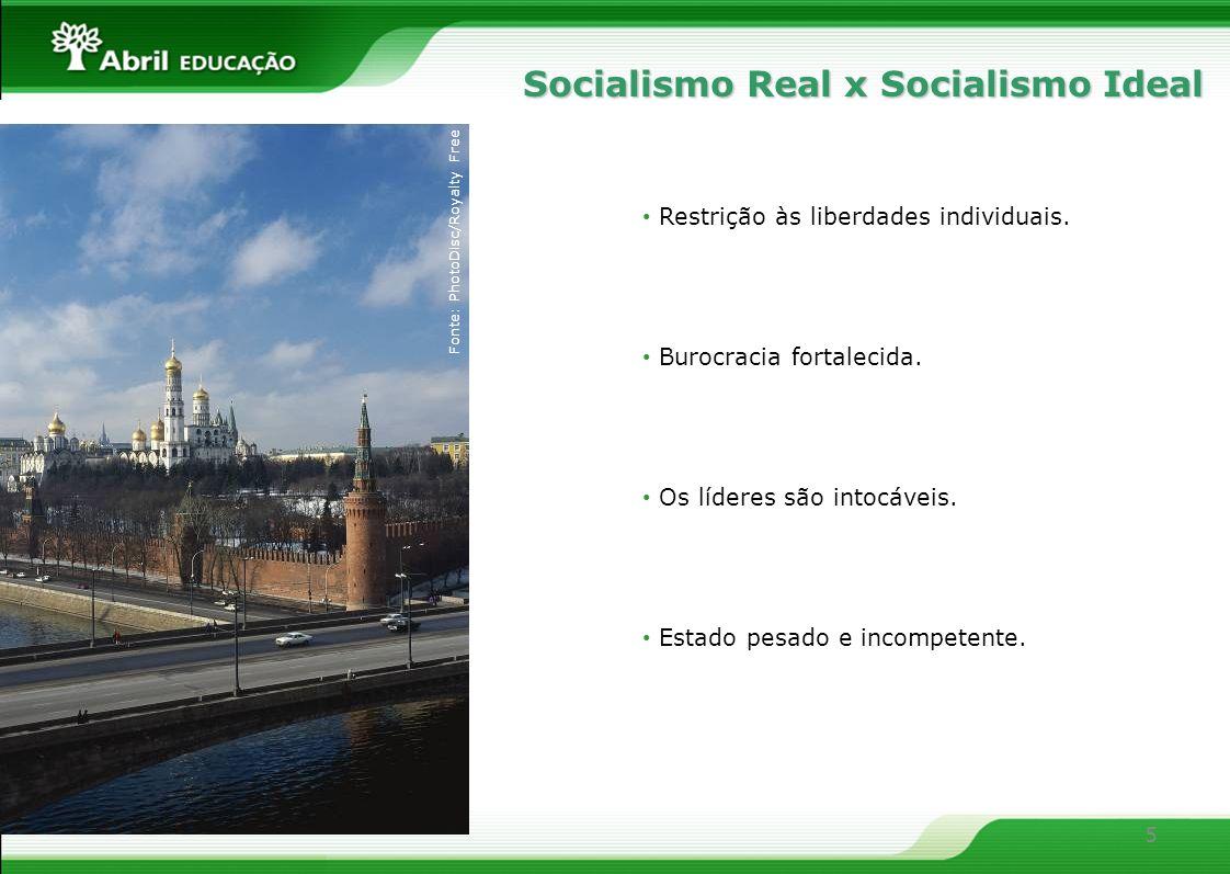 5 Restrição às liberdades individuais. Burocracia fortalecida. Os líderes são intocáveis. Estado pesado e incompetente. Socialismo Real x Socialismo I