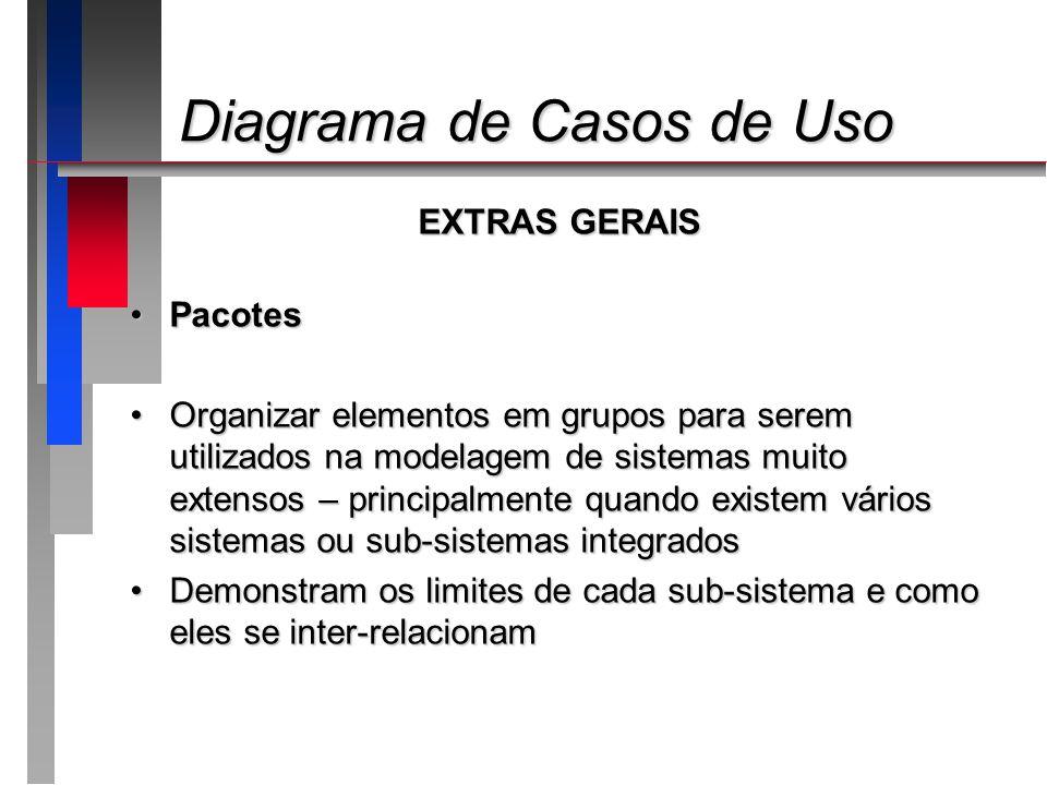 Diagrama de Casos de Uso Diagrama de Casos de Uso EXTRAS GERAIS PacotesPacotes Organizar elementos em grupos para serem utilizados na modelagem de sis