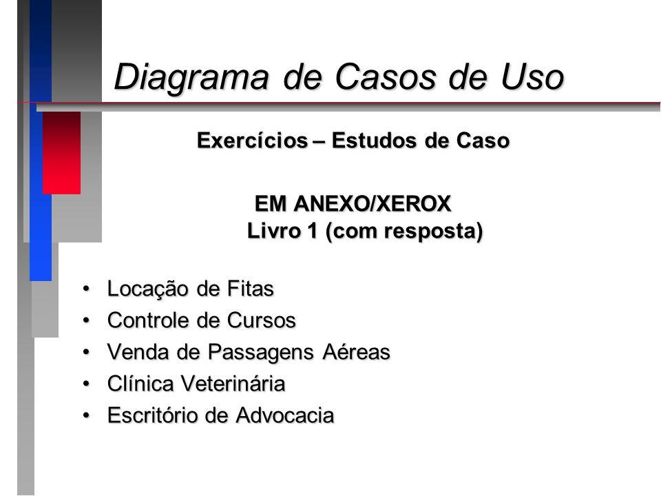 Diagrama de Casos de Uso Diagrama de Casos de Uso Exercícios – Estudos de Caso EM ANEXO/XEROX Livro 1 (com resposta) Locação de FitasLocação de Fitas
