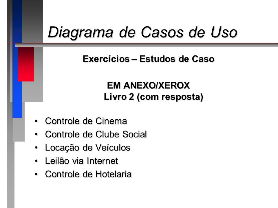 Diagrama de Casos de Uso Diagrama de Casos de Uso Exercícios – Estudos de Caso EM ANEXO/XEROX Livro 2 (com resposta) Controle de CinemaControle de Cin
