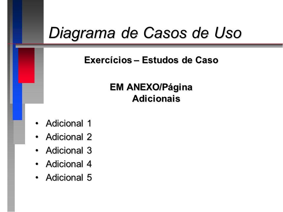 Diagrama de Casos de Uso Diagrama de Casos de Uso Exercícios – Estudos de Caso EM ANEXO/Página Adicionais Adicional 1Adicional 1 Adicional 2Adicional