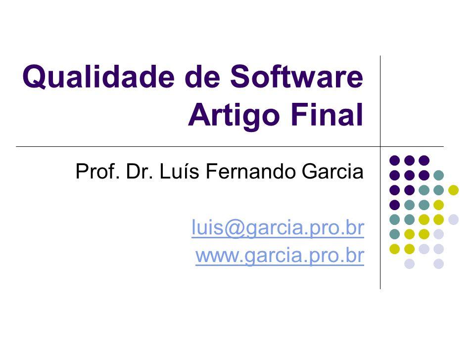Qualidade de Software Artigo Final Prof. Dr.