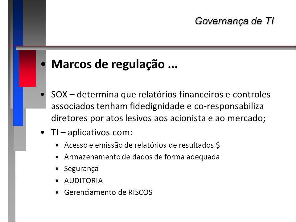 Marcos de regulação... SOX – determina que relatórios financeiros e controles associados tenham fidedignidade e co-responsabiliza diretores por atos l
