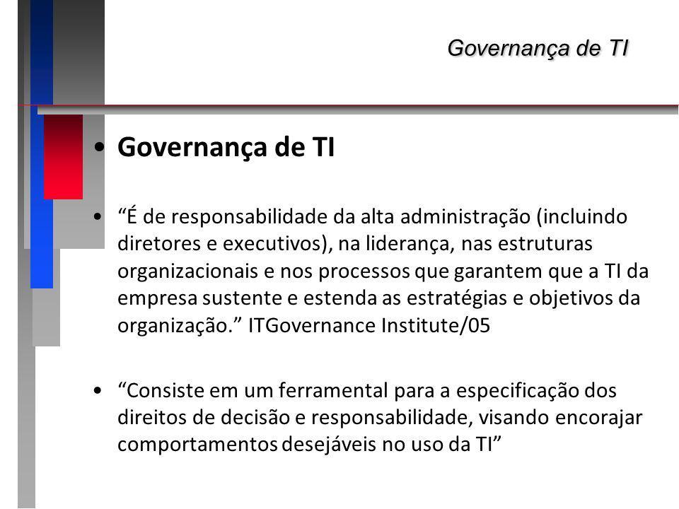 Governança de TI Governança de TI Governança de TI É de responsabilidade da alta administração (incluindo diretores e executivos), na liderança, nas e