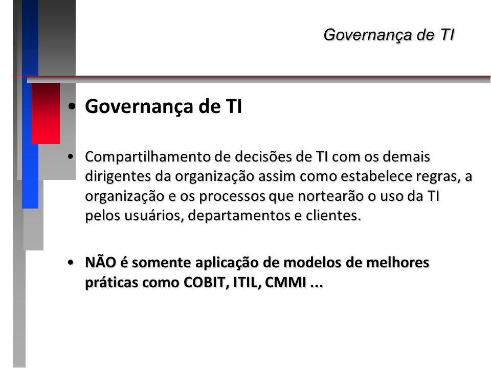 Governança de TI Governança de TI ALINHAMENTO da TI ao negócioALINHAMENTO da TI ao negócio GARANTIA de continuidade do negócio contra falhas da TI (manter e gerenciar infra e aplicações)GARANTIA de continuidade do negócio contra falhas da TI (manter e gerenciar infra e aplicações) GARANTIA do alinhamento do TI a marcos regulatórios externosGARANTIA do alinhamento do TI a marcos regulatórios externos