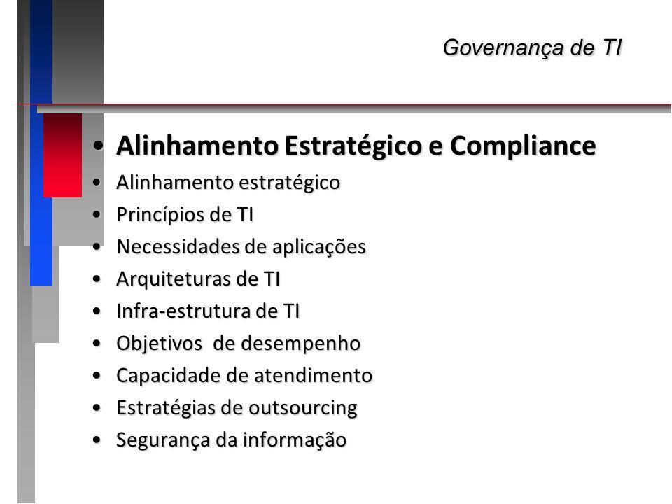 Governança de TI Governança de TI Alinhamento Estratégico e ComplianceAlinhamento Estratégico e Compliance Alinhamento estratégicoAlinhamento estratégico Determinar qual deve ser o alinhamento da TI em termos de arquitetura, infra, aplicações, processos e organização com as necessidades presentes e futuras...Determinar qual deve ser o alinhamento da TI em termos de arquitetura, infra, aplicações, processos e organização com as necessidades presentes e futuras...