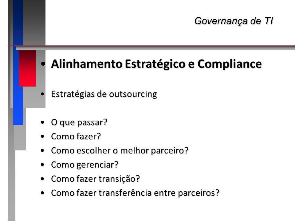 Governança de TI Governança de TI Alinhamento Estratégico e ComplianceAlinhamento Estratégico e Compliance Estratégias de outsourcingEstratégias de ou
