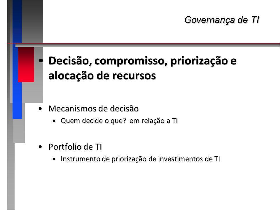 Governança de TI Governança de TI Decisão, compromisso, priorização e alocação de recursosDecisão, compromisso, priorização e alocação de recursos Mec