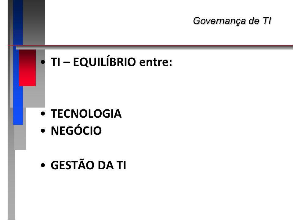 Governança de TI Governança de TI TI – EQUILÍBRIO entre: TECNOLOGIA NEGÓCIO GESTÃO DA TI