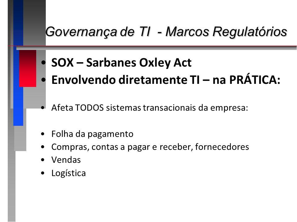 Governança de TI - Marcos Regulatórios Governança de TI - Marcos Regulatórios SOX – Sarbanes Oxley Act Envolvendo diretamente TI – na PRÁTICA: Afeta T