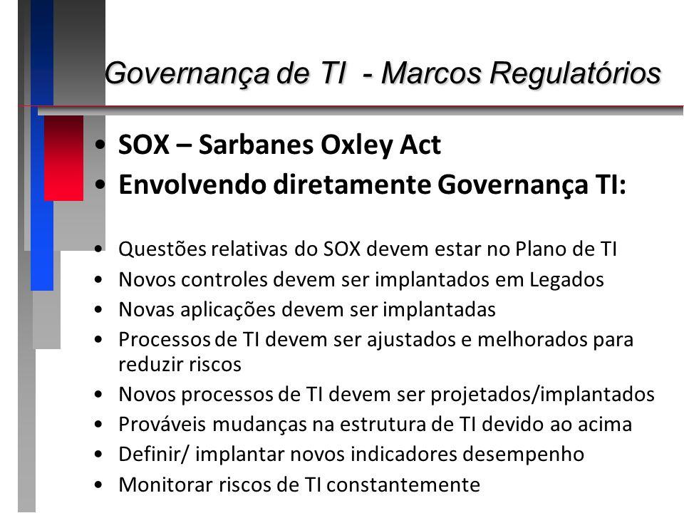 SOX – Sarbanes Oxley Act Envolvendo diretamente Governança TI: Questões relativas do SOX devem estar no Plano de TI Novos controles devem ser implanta